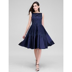 Australia Formal Dresses Cocktail Dress Party Dress Dark Navy A-line Bateau Short Knee-length Lace Stretch Satin